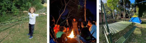 Bambu, fogueira, mesa de bambu